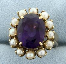 Vintage Amethyst & Seed Pearl Ring