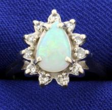 Opal & Diamond Ring in 14K White Gold