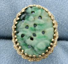 Jade Flower Design Ring