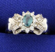 Natural Alexandrite & Diamond Ring