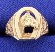 Horse in Horseshoe Ring