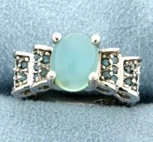 Custom Made Moonstone & Blue Diamond Ring