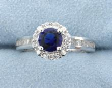 Sterling silver ring with Lab Sapphire