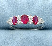 Sterling silver ring with Lab Ruby