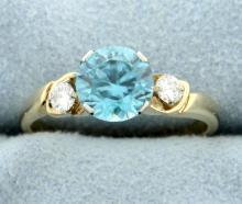Vintage Zircon & Diamond Ring