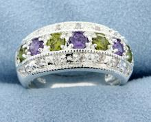 Sterling silver plated band with Lab Amethyst and Peridot