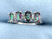 Genuine Mystic Topaz & Diamond Ring
