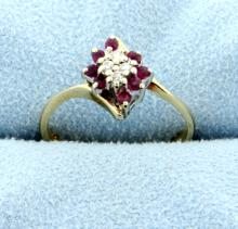 Diamond & Ruby Fashion 14K Ring