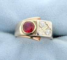 Antique Mine Cut Diamond and Ruby Ring