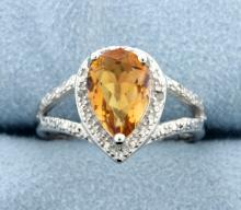 Azotic Topaz & Diamond Sterling silver ring