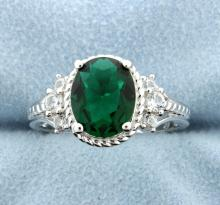 Sterling silver ring with Lab Emerald