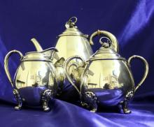 3 Piece Sterling Silver Tea Set-Spring Glory, International Silver