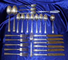 Westmorland Sterling Silver Flatware Set-John & Priscilla Pattern 1940-26 pieces