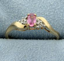 Pink Topaz & Diamond Ring