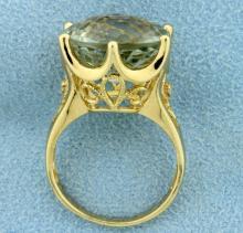 10ct Green Amethyst & White Sapphire Ring