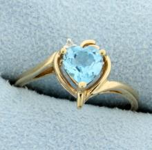 Heart Shaped Blue Topaz & Diamond Ring