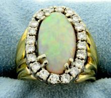 Vintage 18K Opal & Diamond Ring