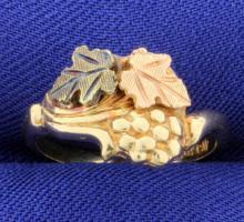 Black, Rose, & Yellow Gold Leaf Ring