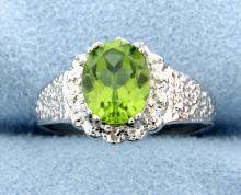 Peridot & Diamond Sterling silver ring