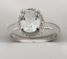 Genuine Green Amethyst and diamond ring
