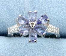 Tanzanite & Diamond Sterling silver ring