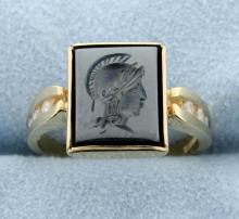 Hematite & Diamond ring