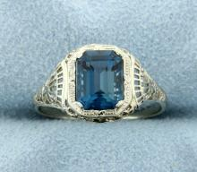 Vintage Ring with London Blue Gemstone