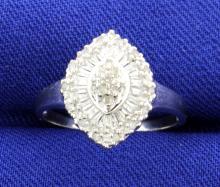 Vintage Style Diamond Cluster 10k Ring