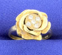 14k Rose Design Yellow Gold Diamond Ring