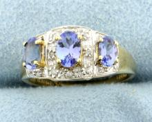 3 Stone Tanzanite & Diamond 10k Ring