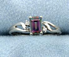 Mystic Topaz 10k White Gold Diamond Ring