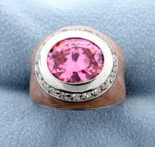 Sterling Silver Fashion Ring with Oval Pink Stone