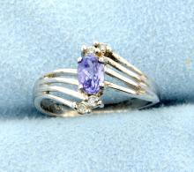 Tanzanite & 4 Diamond 10k Ring