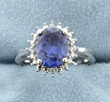 Sterling silver Ring with Lab Tanzanite