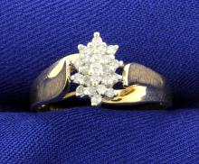 Diamond Cluster 10k Ring