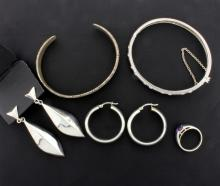 5 piece Sterling Silver Suite of one Ring, two Earrings, Bangle bracelet and Cuff