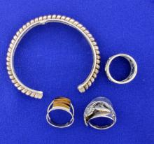 3-Rings And One Cuff in Sterling Silver