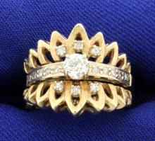 Antique Old Mine Cut Diamond Ring with Matching Diamond Jacket