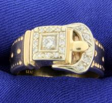 .28ct Total Weight Custom Designed Diamond Buckle Ring