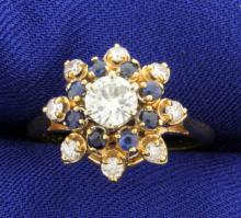 High Quality 3/4ct Total Weight Diamond & Sapphire Ring