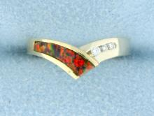 Opal & Diamond pinky ring