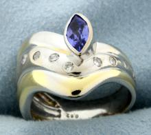 Tutone Tanzanite & Diamond Ring