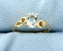 Blue Topaz and Diamond 10k Ring