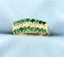 Emerald & Diamond 14k Yellow Gold Ring