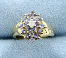 Diamond & Tanzanite Cluster 10k Ring