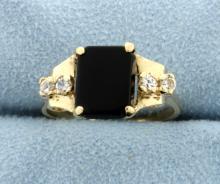 Onyx & White Sapphire 14k Yellow Gold Ring