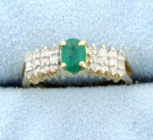 Emerald and diamond 14k yellow gold ring