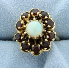 Opal and Garnet 14k Yellow Gold Ring