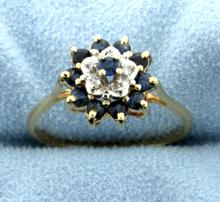 Sapphire Cluster 14K Ring with 5 Diamonds