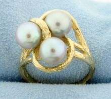 3 Silver Gray Pearls Set in 14K Yellow Gold Ring Mounting